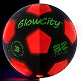 GlowCity Light-Up Soccer Ball – Size 3 Glow-in-The-Dark Mini LED Kick Ball – Fun for a Night Match