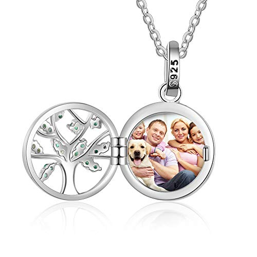 Personalised Sterling Silver Locket Necklace Tree of Life Customised Photo Heart Pandant Necklaces for Women Girls Charm Jewelry Gift Picture and Engraving Text Keepsake Present Chain of 18 inches