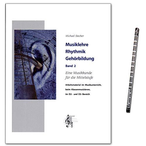 Muziekleer ritme gehoorvorming band 2 - boek van Michael Stecher met online audio en muziek-potlood - 9789043149600