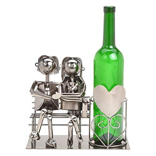 Wein Flaschenhalter Liebespaar auf Bank - Weinflaschenhalter Metall mit Figuren als Geschenk oder Dekoartikel für zu Hause