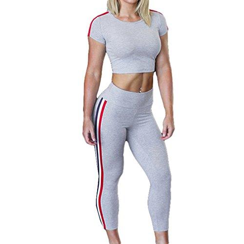 Deportiva Suave y cómodo Mujer Verano Raya Yoga Set Traje Mujeres Deportive Push Up Vest + Deportes Pantalones Traje de Gimnasio Hot Sweat Body Shaper Yoga Slimming Fitness Set 2 Piezas