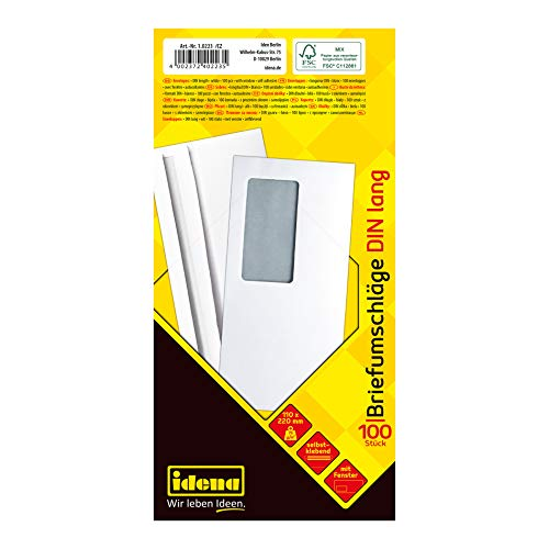 Idena 10223 - Briefumschläge lang, 75 g/m², selbstklebend, mit Fenster, weiß, 100 Stück