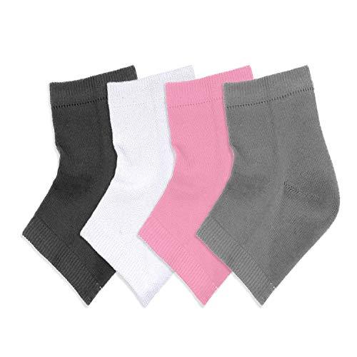 Pinkiou Gel Heel Socken Open Toe Socks Feuchtigkeitsspendende Silikon Heel Socken für trockene, rissige Haut (4 in1)