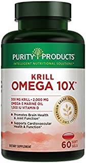 Krill Omega-3 10x More EPA & DHA Super Formula - Lemon-Lime Flavor, 60 SoftGels - 30 Day Supply from Purity Products