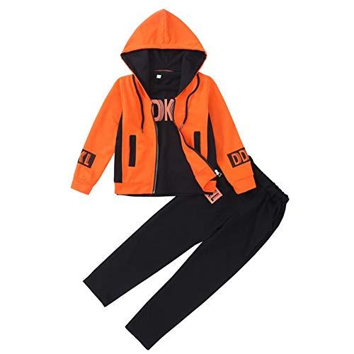 SXSHUN Mädchen Jogginganzug Kinder Sportanzug Trainingsanzug 3tlg Bekleidungsset Sweatjacke + T-Shirt + Jogginghose, Orange, 122/128(Etikettengröße:130)