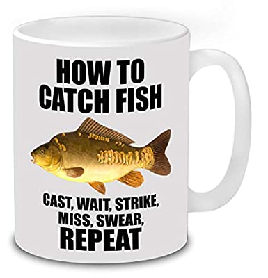 How to Catch Fish, Mirror Carp Fishing Mug Novelty Coffee Tea Ceramic Mug Present Fishing Gift Idea Secret Santa. from total-tees