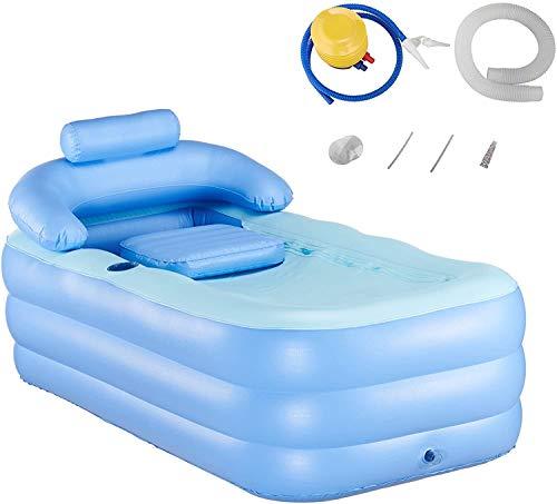 Y-NOT Vasca da Bagno Gonfiabile per Adulti Piscina per Bambini Massaggio Spa Vasche Jacuzzi Pieghevole Giardino (con Pompa a Pedale Manuale)