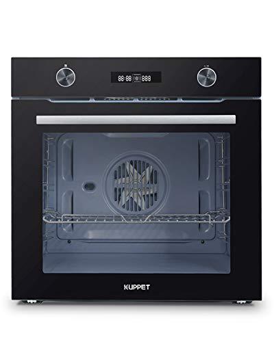KUPPET Backofen Elektro/A+ / 75 L/Heißluft mit Ringheizkörper/Edelstahl/Klapptür/LED-Display / 11 Beheizungsarten/LED illminous Knopf/[Energieklasse A+]