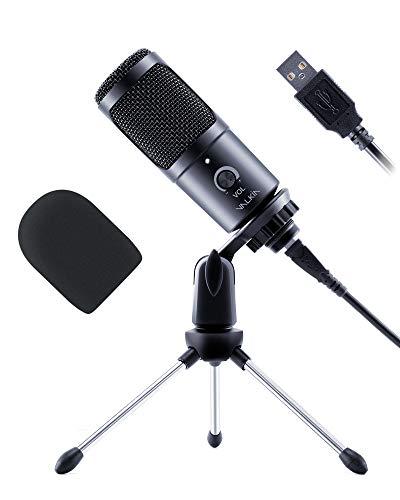 Microfono per PC VALKIA Microfono a Condensatore Microfono USB Mic Cardioide da Gioco con Supporto e Filtro per Giochi, Registrazione, Streaming, Podcasting, Chat, Compatibile con Laptop Desktop PS4