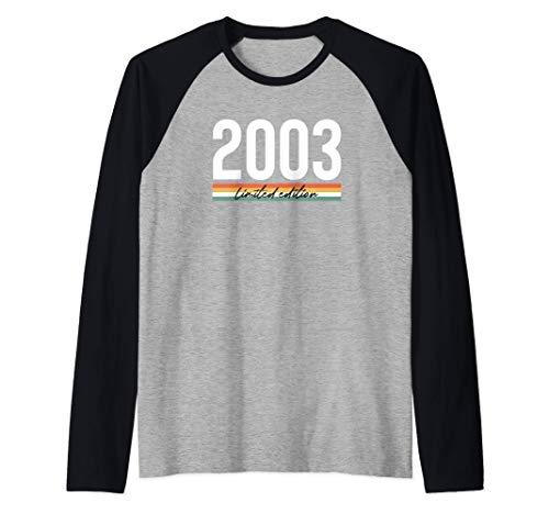 18 Años Cumpleaños Chico Chica Regalo Deco Divertido 2003 Camiseta Manga Raglan