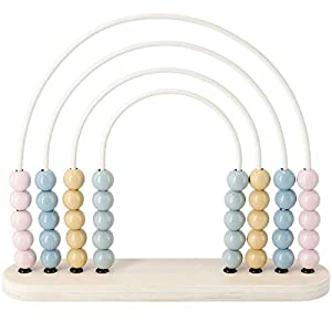 Clas Ohlson Wooden Abacus Rainbow Shaped - For Toddlers, Educational Toy for Kids, FSC labelled Wood, Classic Counting Toy