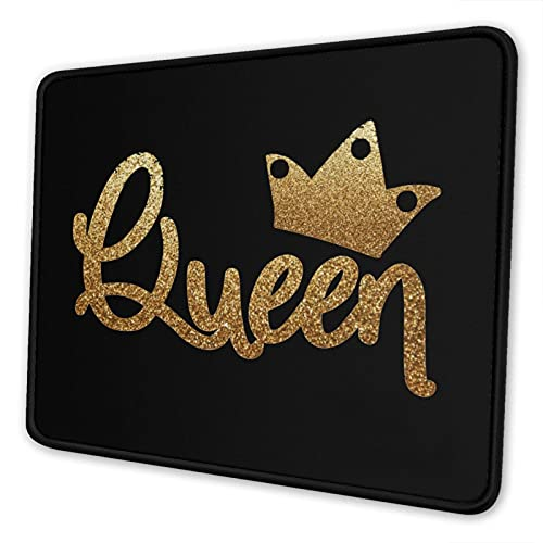 Mouse Pad Gold Queen Crown with Non-Slip Rubber Base & Stitched Edge, for Laptop, Computer & Pc, 8.3 X 10.3 in