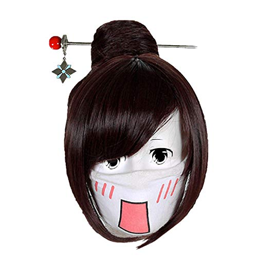 OW Mei Wig Cosplay Costume Game Anime Role Short Layered Handmade Brown Hair (Wig)