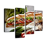 IGOONE 4 Panels Canvas Paintings - Club Sandwich with ham and Whole Wheat Bread - Wall Art Modern...
