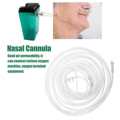 zhuangyulin6 5PCS Canular Nasal de oxígeno, 2 Metros Tubo de oxígeno de plástico Transparente desechable Cánula Nasal médica Cánula de respiración Cuidado de la Salud
