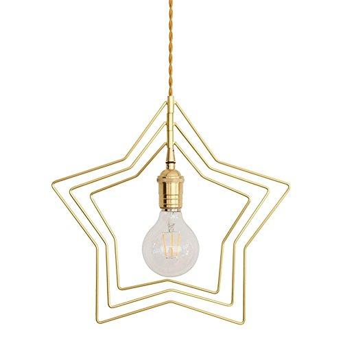 Moderne Lustre Creative Pendentif Lampe Maison Loft 3 Layer Étoiles Pendentif Lumières Cuivre Fer Lustres Lustre Simple Chambre Balcon Chambre Décor Blanc avec un E27 Source lumineuse Ø34cm