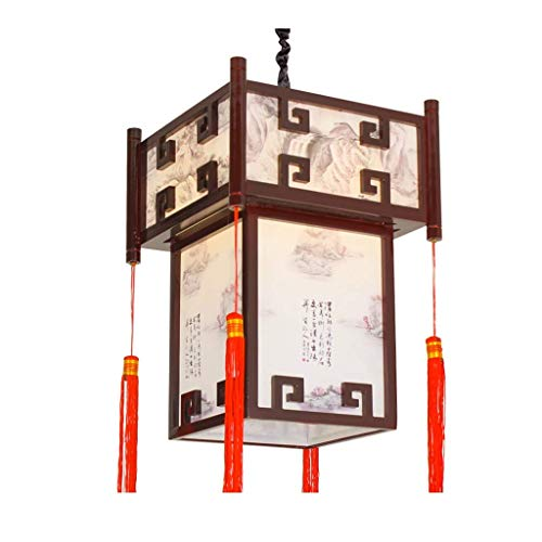 N/Z Home Equipment Pendant Light Chinese Antique Palace Lantern Square Lantern Lamp Wooden Carved Lamp Body PVC Lampshade Lamp Outdoor Corridor Indoor Lighting Pendant Lights