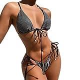 Timagebreze Bikini Brillante Traje de BaaO para Mujer Traje de BaaO Sexy de Tres Esquinas Traje de BaaO de 2 Piezas para Mujer Traje de BaaO Push Up BaaAdor Gris S