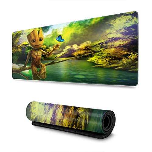 Groot Baby Cute Mouse Pad Rectangle Non-Slip Rubber Electronic Sports Oversized Large Mousepad Gaming Dedicated 11.8X31.5 Inch