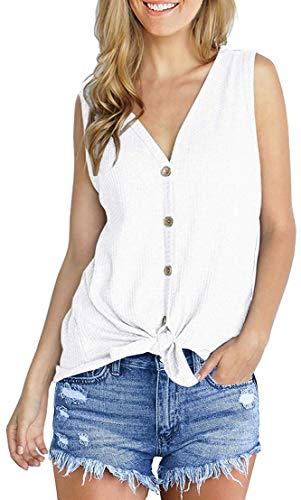 Chaos World Camisetas sin Mangas para Mujer Cuello en V botón Tirantes Camisa de Verano Tops(XXL,2 Blanco)