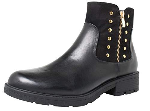 Fitters Footwear That Fits Donne Stivaletto Lisa Finta Pelle Tronchetto in camoscio Sintetico e Morbida Similpelle (43 EU, Nera)