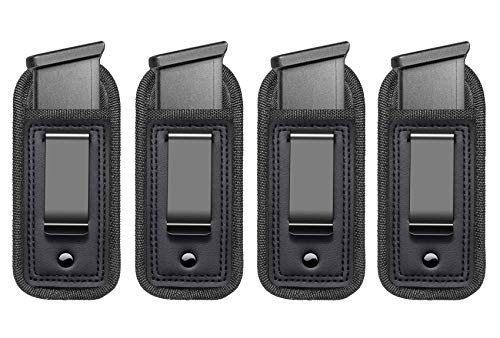 4-Pack Universal IWB Magazine Holster Concealed Carry 9mm .40 .45   Inside The Waistband Mag Pouch   Mag Holster for Glock 43 17 Sig 1911 S&W M&P   Fits Any 7 10 15 Round Clips for All Pistols