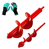 VUDECO Auger Drill Bit 2 PCS Set with Garden Genie Gloves for Planting Hole Drill Planter Auger Spiral Hole Drill Bit Bulb Bedding Digging Post Hole Planting Tool Red 11.8'x3.15' and 8.7'x1.57'