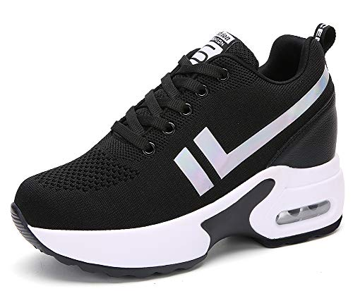 AONEGOLD Sneakers Zeppa Donna Scarpe da Ginnastica Basse Tennis Sportive Fitness Scarpe con Zeppa Interna Tacco 8.5 cm Casual Moda 1298 Nero 36 EU