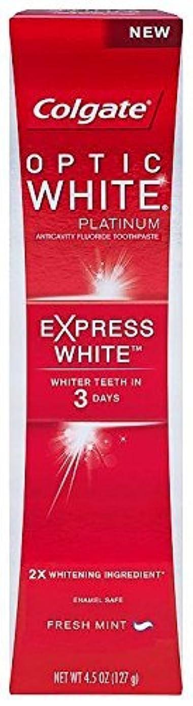 弱まるバリケードスタックColgate オプティックホワイトプラチナの歯磨き粉、エクスプレスホワイト - 4.5オンス