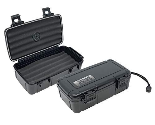Prestige Import Group Cigar Safe Waterproof Travel Cigar Humidor Case - Holds up to 10 Cigars - Color: Black