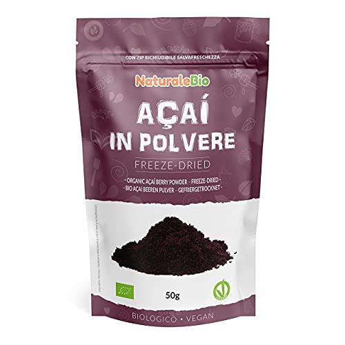 Bacche di Acai Biologiche in Polvere - Freeze-Dried - 50 gr. 100% Prodotto in Brasile, Liofilizzato, Crudo ed Estratto dalla Polpa della Bacca di Açai. NaturaleBio
