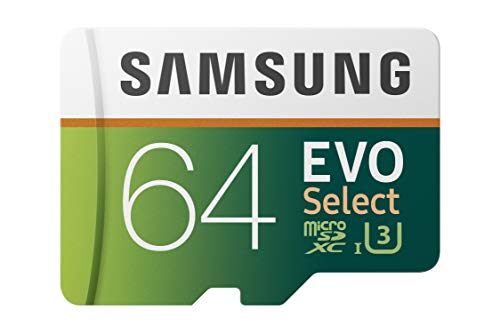 Samsung 64GB 100MB/s (U3) MicroSDXC EVO Select Memory Card with Full-Size Adapter...