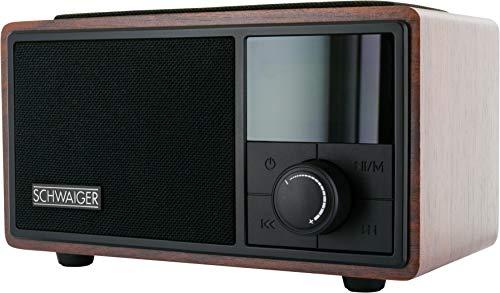 SCHWAIGER -715729- Radiowecker mit Bluetooth | UKW und FM Empfang | kleines Radio mit Integrierter QI Ladestation | Musikbox mit AUX und Mico SD Slot | tragbar | aus Holz