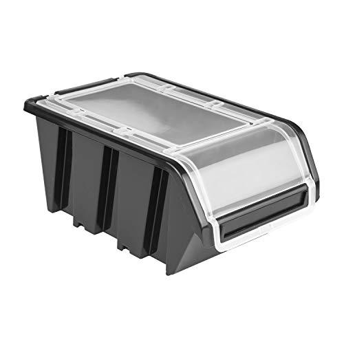 20 x Stapelbox Stapelkiste Sortierbox Box mit Deckel 100x155x70 schwarz