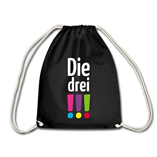 Spreadshirt Die Drei !!! (Ausrufezeichen) Logo Turnbeutel, Schwarz