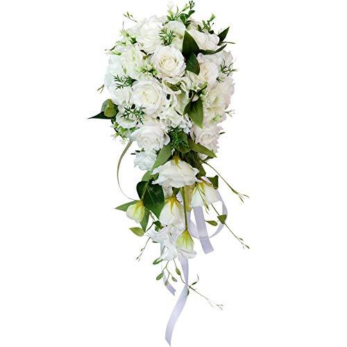 TUTI Ramos de Novia en Cascada Blancos OrquíDea Rosa Artificial Flor de Seda Artificial Ramo de Novia Hecho una Mano