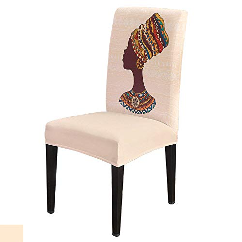 Dining Chair Covers, Stretch Protectors Slipcovers African American Black Girl Removable Washable Seat Cover for Home Living/Dining Room Party Hotel Traditional Ethnic Women