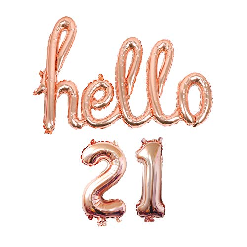 AnnoDeel Hello 21 Banner Foil Balloons, 32inch Rose Gold one-piece Letter Mylar Balloonss for Twenty one Birthday Celebration Party Decor