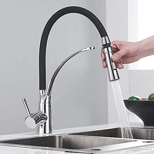 Lusun Grifo para fregadero de cocina, giratorio 360°, con ducha doble extraíble (cromado)