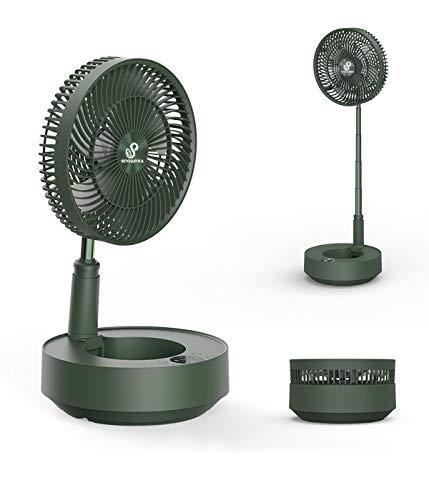 Snowpea 8000mAh Batterie Tischventilator Standventilator Bodenventilator USB Ventilator Luftzirkulator 25dB Lautlos mit Fernbedienung für Outdoor Camping Schlafzimmer Büro (Grün)