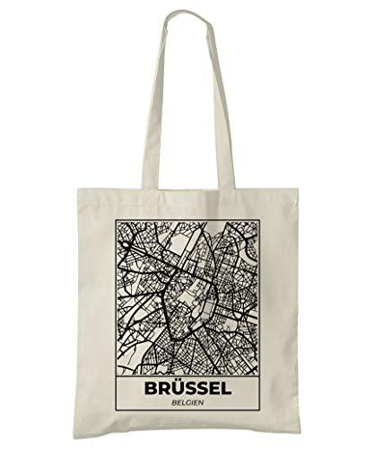 Brüssel, Belgien, Stadtplan Einkaufstasche (Style 5d: Deutsche)