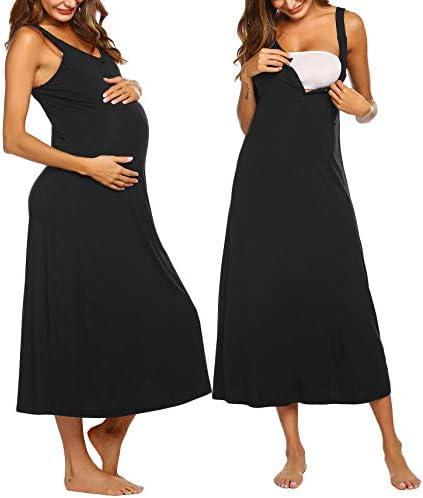 Ekouaer Womens Maternity Nursing Sleeveless Long Nightgown Summer Night Dress Cotton Sleepshirt product image