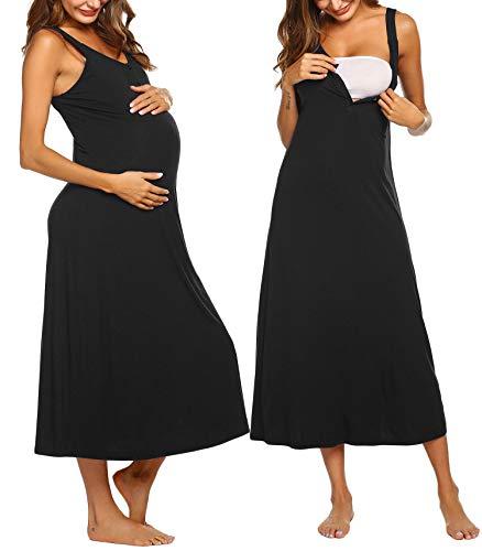 Ekouaer Maternity Nursing Nightgown Womens Sleeveless V-Neck Breastfeeding Sleep Dress Long Gown for Pregnant (XL, Type1 - Black)