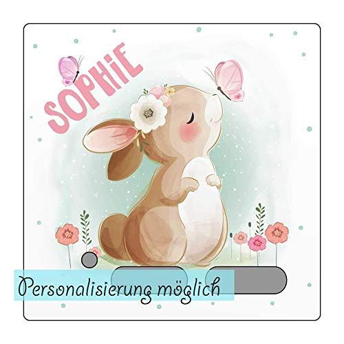 My Sweetheart® Tonie Schutzfolie Toniebox Folie Aufkleber personalisiert mit Namen Hase Schmetterlinge wischfest kratzfest Schutz LED durchscheinend