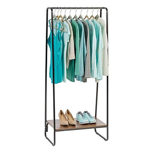 Marque Amazon- Movian Portant penderie à vêtements / Porte-manteaux avec étagère en bois MDF et métal - Garment Rack PI-B1 - Brun et noir, 64 x 40 x 150 cm