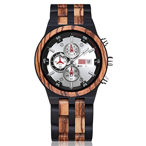 Reloj de Madera para Hombre, cronógrafo de Cuarzo de 6 Pines, Fecha, Reloj multifunción, Reloj de Pulsera de Madera Completo, Tipo Grande para hombre1