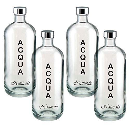 BrandPrint, Set di 4 Bottiglie in Vetro per Acqua Modello Artemide 1 Litro serigrafata Naturale con Tappo a Vite in Alluminio. Per Bevande e Succhi.