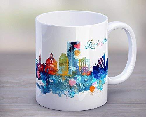 Lexington Mug Watercolor City Silhouette, original USA Skyline Tea Cup,Decoración para el...