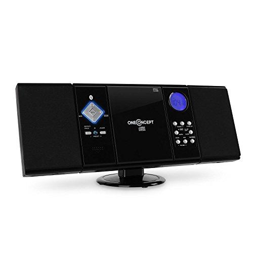 OneConcept V-12-BT - Bluetooth Stereoanlage, Kompaktanlage mit Integriertem UKW-Receiver, CD-Player, USB-Port, SD-Slot und AUX-Eingang, Weckfunktion, programmierbar, inkl. Fernbedienung