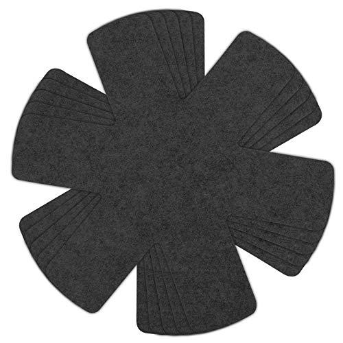 Vegena 5pcs Salvamanteles de Tela no Tejidas, Protectores para Sartenes y Ollas Antideslizante, Almohadillas Separadoras de Fieltro para Evitar Arañazos en Utensilios de Cocina - Negro